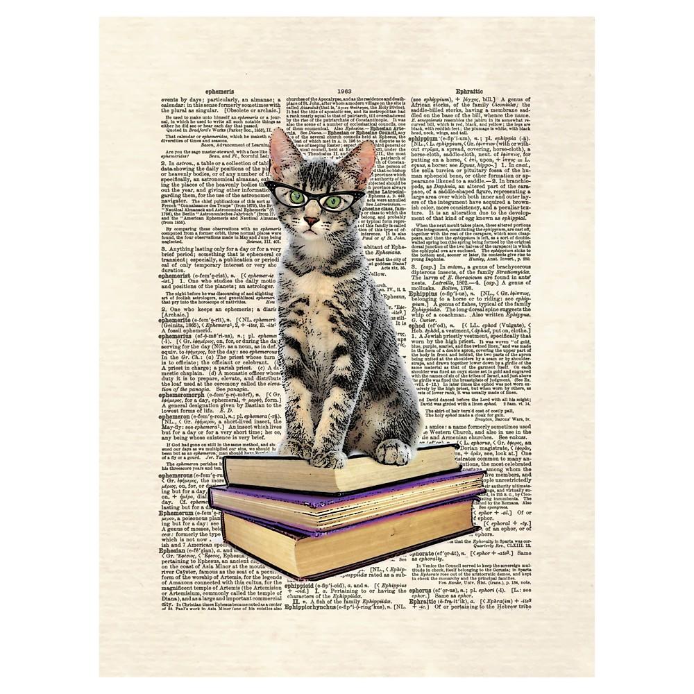 Book Cat by Matt Dinniman Unframed Wall Art Print, Brown