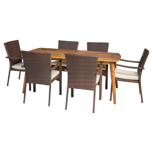 Talbot 7pc Rectangle Wood Patio Dining Set w/ Wicker Stacking Chairs - Teak - Christopher Knight Home - image 1 of 4
