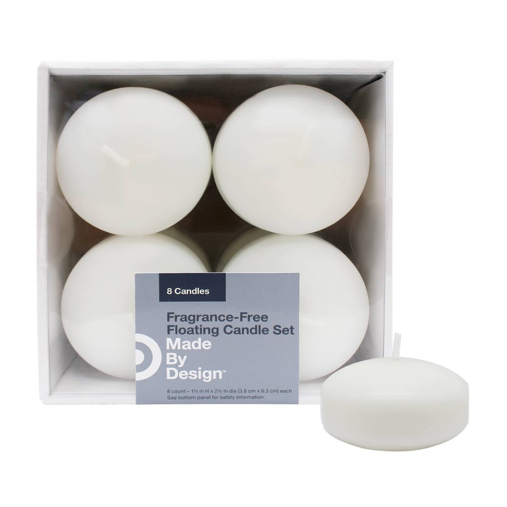 """Image of """"2.5"""""""" x 1.5"""""""" 8pk Unscented Floating Candles White - Made By Design"""""""