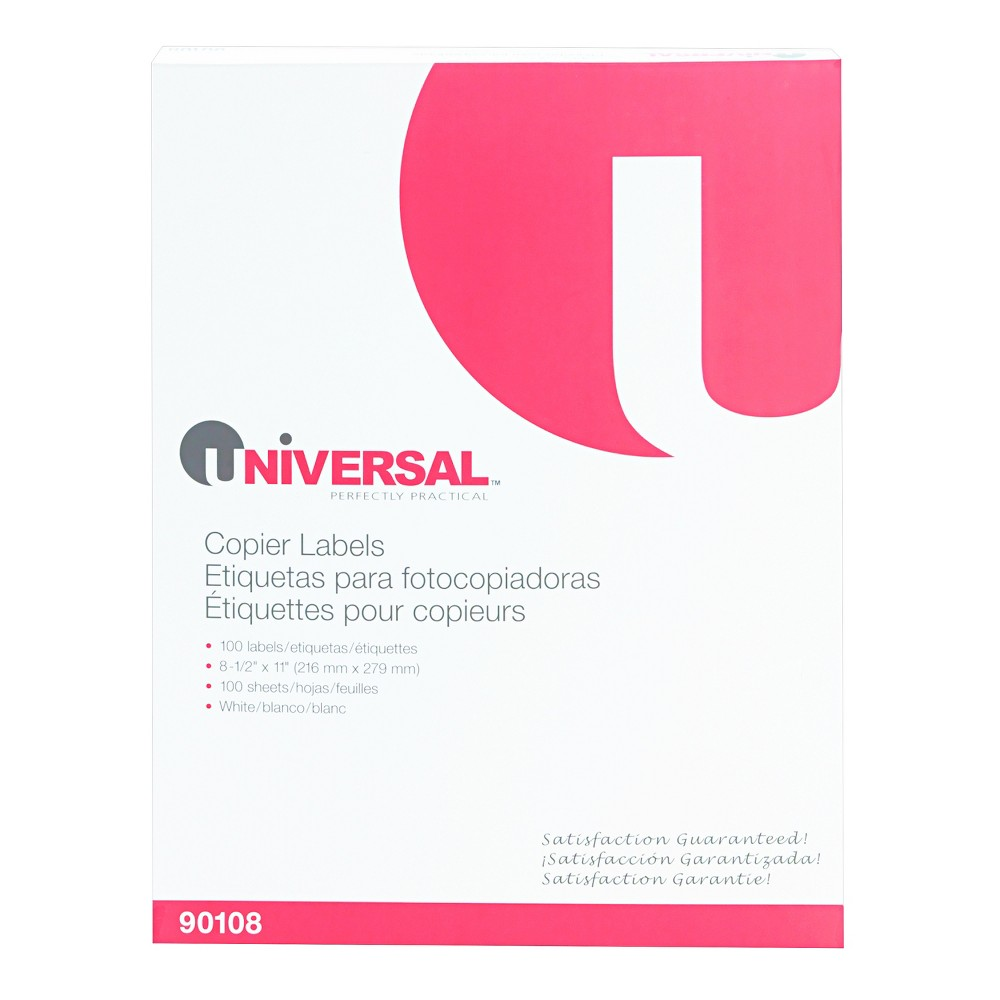 Universal Shipping Labels for Copiers, 8-1/2 x 11, Bright White, 100/Box