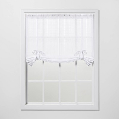"63""x42"" Leno Striped Light Filtering Balloon Shade White - Threshold™"