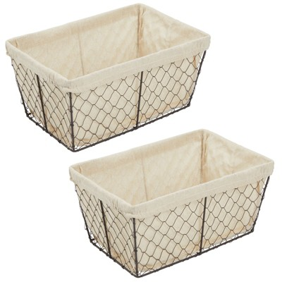 mDesign Chicken Wire Storage Basket with Fabric Liner, 2 Pack - Bronze/Natural