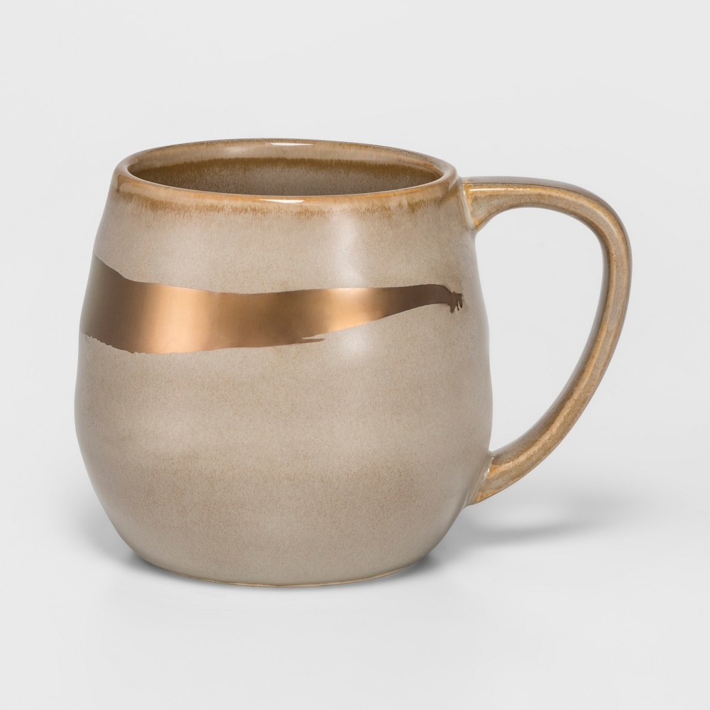 Cravings by Chrissy Teigen 18oz Stoneware Mug Gray/Gold Swoosh