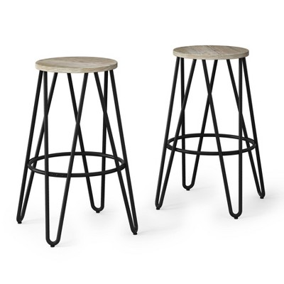 """Set of 2 26"""" Kendall Metal Counter Height Stool with Wood Seat - Wyndenhall"""