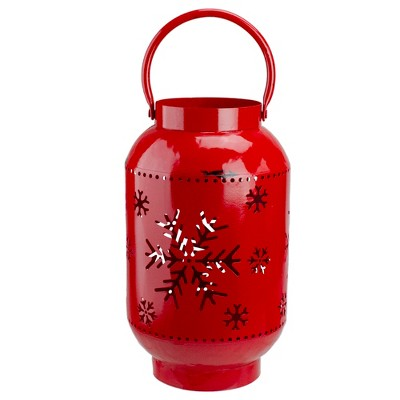 Northlight 10-Inch Red Snowflake Cutout Christmas Candle Lantern- Metal