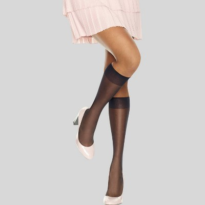 L'eggs Women's Sheer Toe 10pk Knee High Stockings - Black One Size