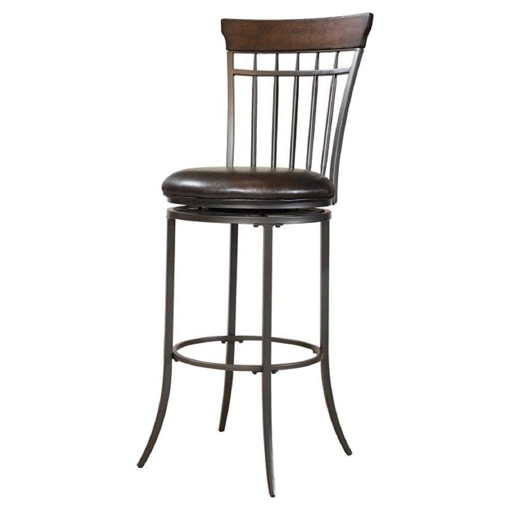 Cameron Swivel Vertical Spindle 30 Barstool Metal/Brown - Hillsdale Furniture