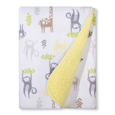 Plush Velboa Baby Blanket Monkeys & Giraffes - Cloud Island™ - Yellow