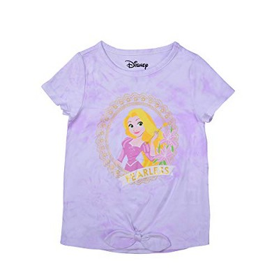 Girl's Disney Princess Rapunzel Fearless Tie Dye Bow Front Graphic Tee Shirt For Kids