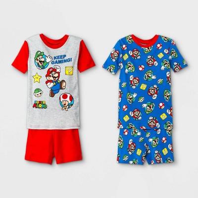 Boys' Mario Kart 4pc Pajama Set - Red/Gray/Blue