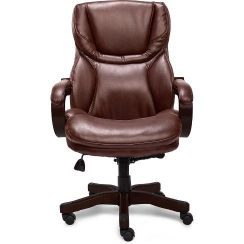 Big Tall Executive Chair Redwood Leather Serta Target