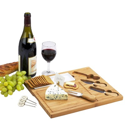 Picnic at Ascot Bamboo Cheese Board/Charcuterie Plate with 3 Stainless Steel Cheese Tools, Ceramic Dish, and Markers - Great Holiday Gift for Gourmets