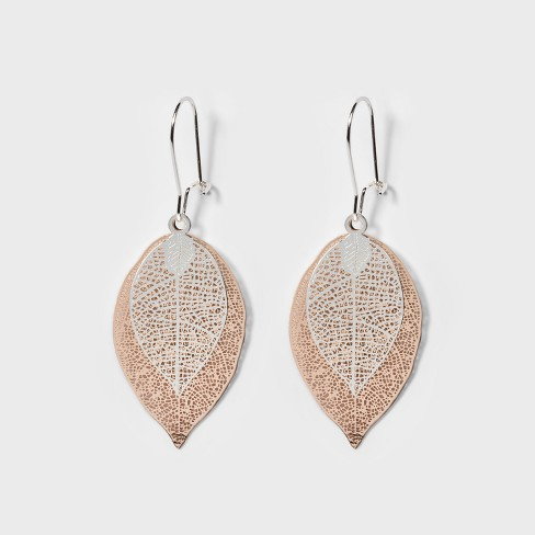 Leaves Earrings - A New Day™ Silver/Rose Gold - image 1 of 2