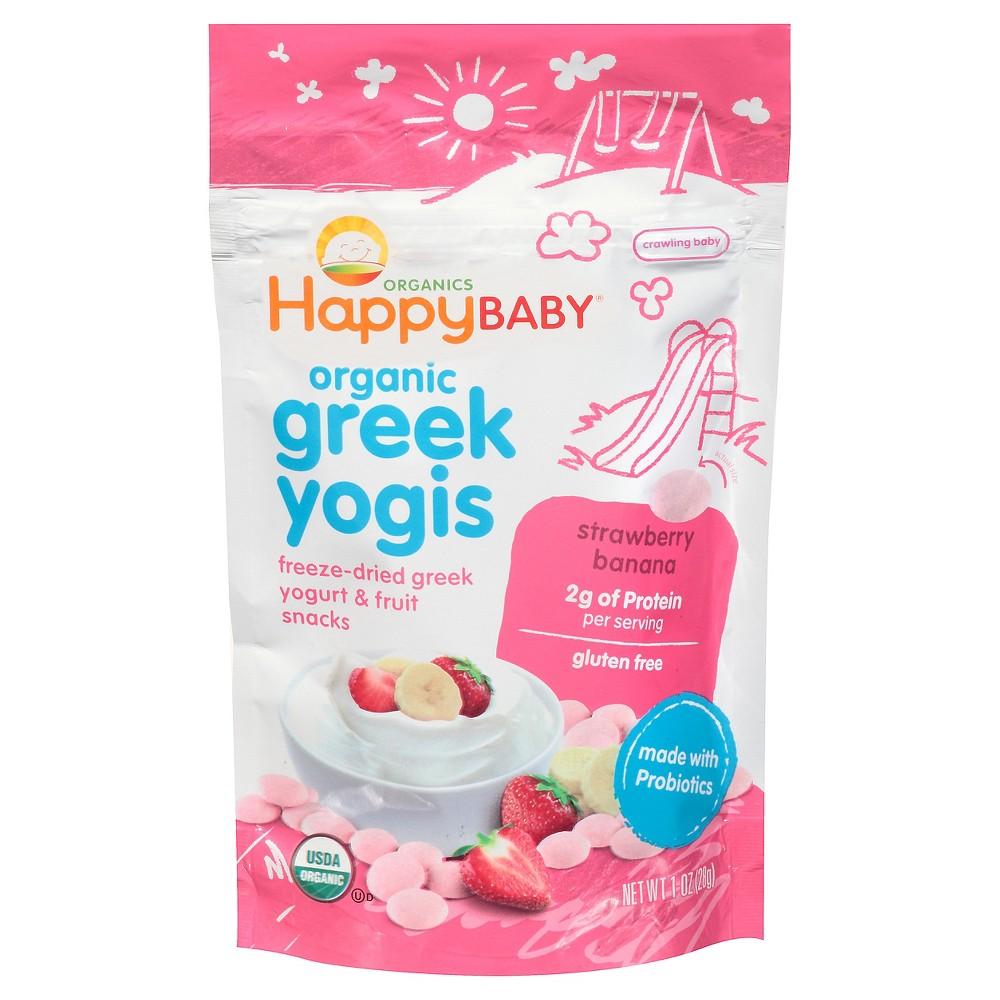 Happy Baby Happy Yogis freeze dried snacks made of Greek Yogurt, Strawberries and Bananas