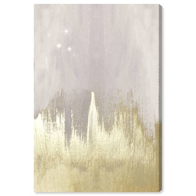 """15"""" x 10"""" Offwhite Starry Night Abstract Unframed Canvas Wall Art in Gold - Oliver Gal"""