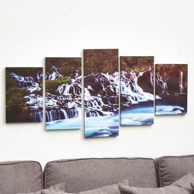 Lakeside 5 Piece Canvas Wall Art Set Waterfall Target