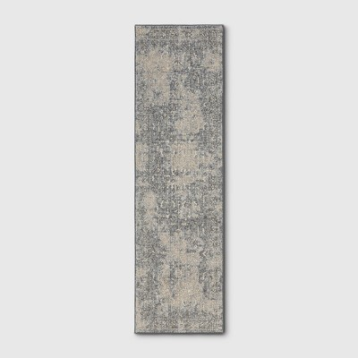 2'X7' Tribal Design Tufted Accent Rug Gray - Threshold™