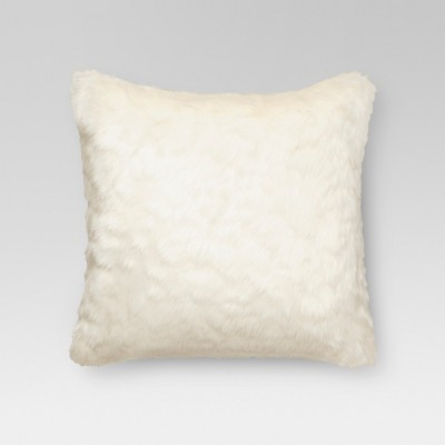 Cream Faux Fur Square Throw Pillow 18 x18  - Threshold™