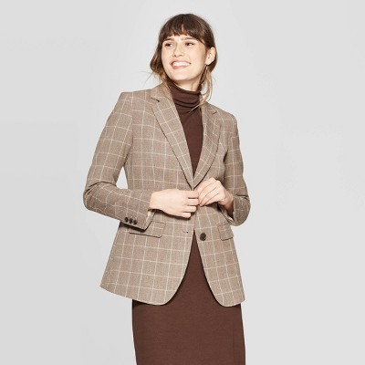 womens-plaid-long-sleeve-button-front-bi-stretch-twill-blazer---a-new-day-brown by a-new-day