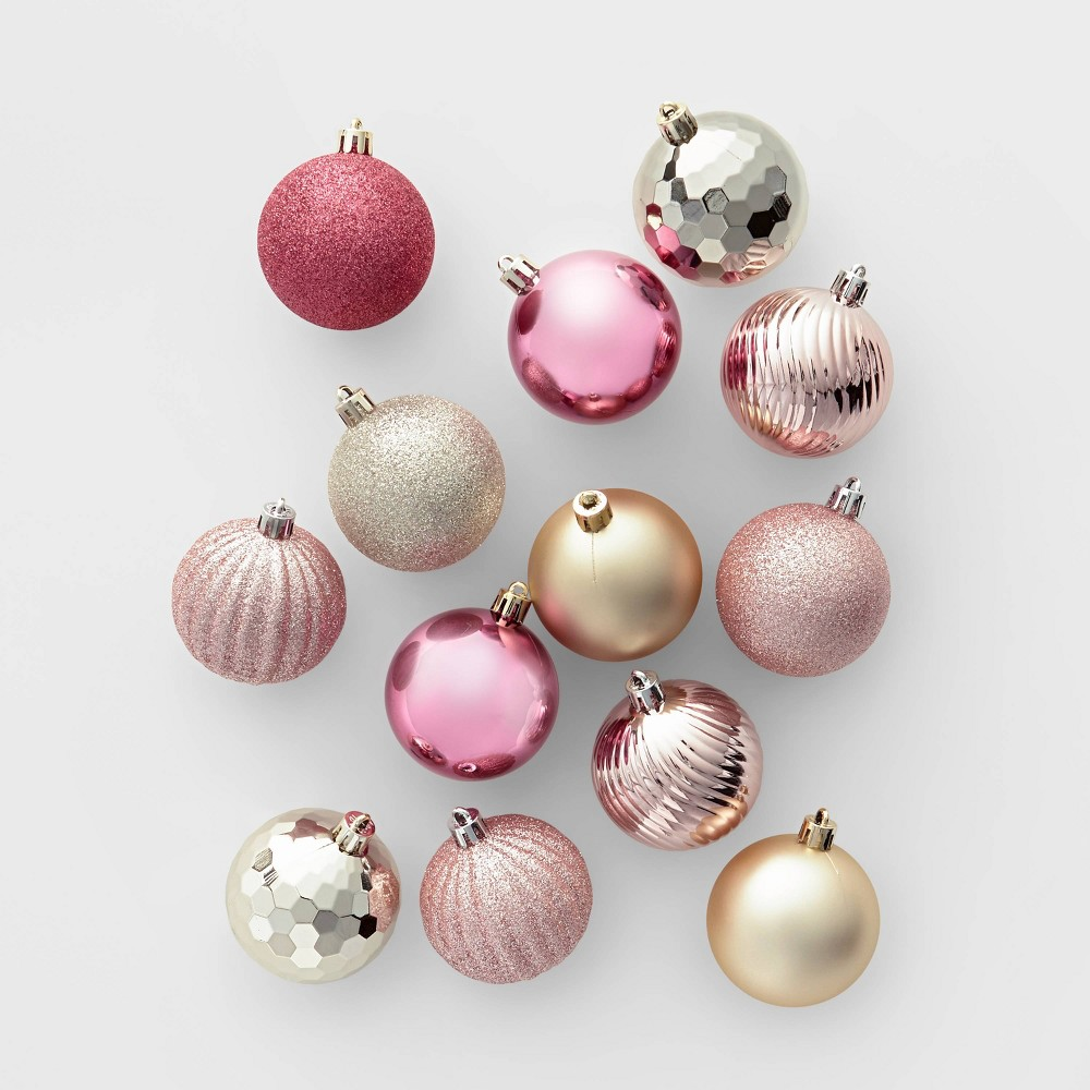Image of 100ct Christmas Ornament Set Champagne Blush and Dusty Rose - Wondershop , Gold Silver Brown