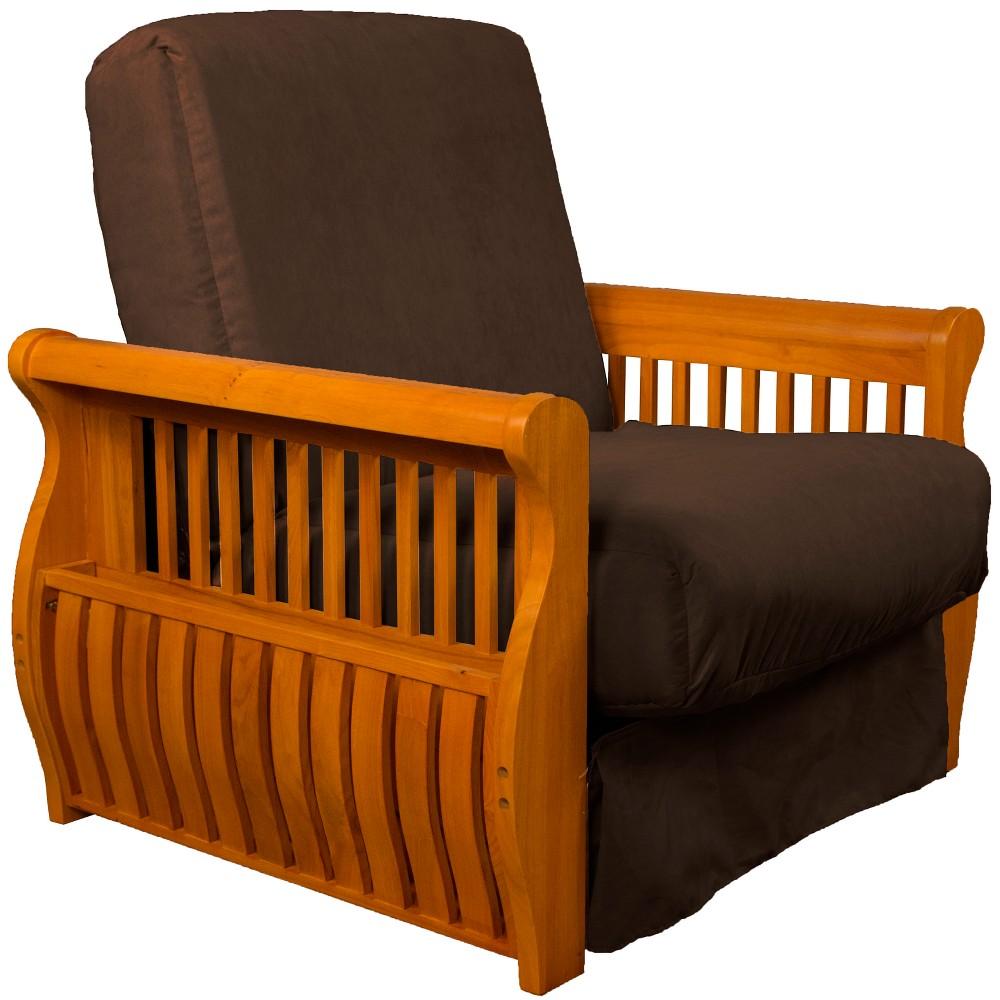 Storage Arm Perfect Futon Sofa Sleeper Medium Oak Wood Finish Chocolate Brown - Epic Furnishings