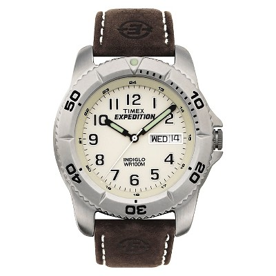 Men's Timex Expedition Watch with Leather Strap - Silver/Brown T466819J