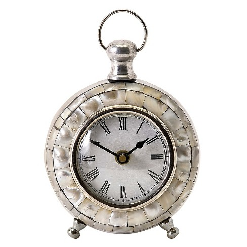 "6"" Round Pocket Watch Table Clock Nacre - Aurora® - image 1 of 2"