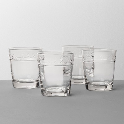 4pk X Pattern Juice Glass Clear - Hearth & Hand™ with Magnolia