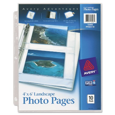 Avery Photo Storage Pages for Four 4 x 6 Horizontal Photos 3-Hole Punched 10/Pack 13406