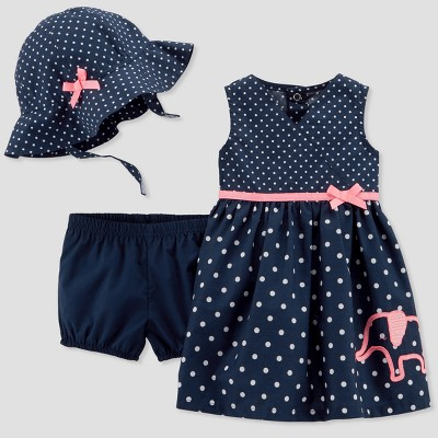 Baby Girls' 2pc Dot Elephant Hat/Dress Set - Just One You® made by carter's Navy 3M