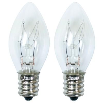 15-Watt 2pk C7 Incandescent Light Bulbs for Wax Warmers Clear - ADOR