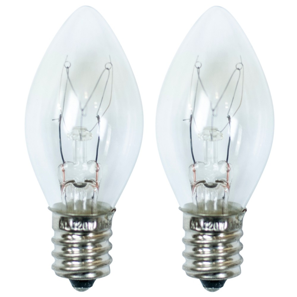 Image of 15-Watt 2pk C7 Incandescent Light Bulbs for Wax Warmers Clear - ADOR