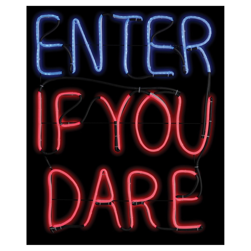 "Image of ""20 """"Halloween Enter If You Dare Glow Light Sign"""