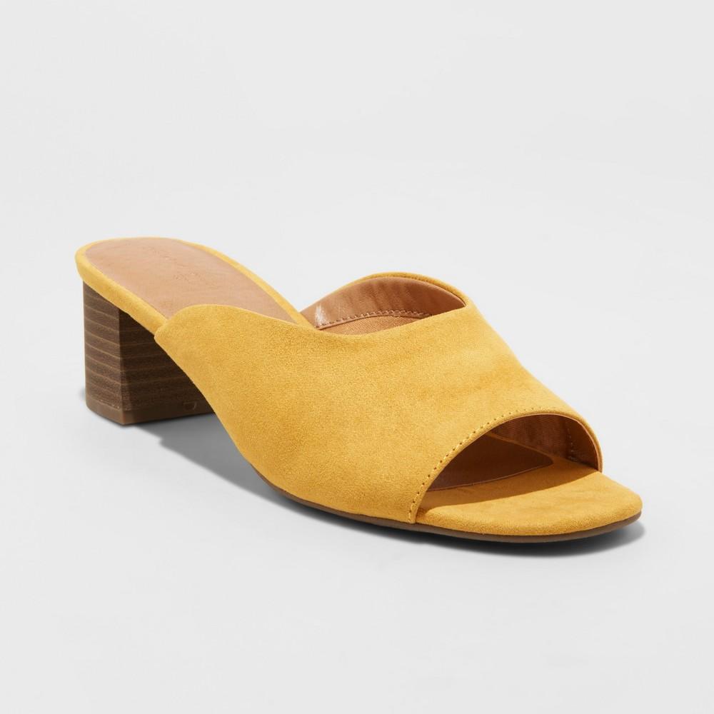Women's Rosalynn Wide Width Block Heeled Mule - Universal Thread Yellow 8.5W, Size: 8.5 Wide