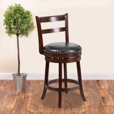 """Emma and Oliver 26""""H Single Slat Ladder Back Cappuccino Wood Counter Swivel Stool"""