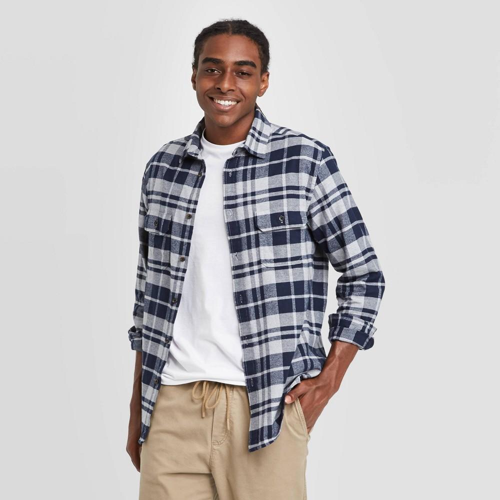 Cheap Men's Standard Fit 2-Pocket Flannel Long Sleeve Button-Down Shirt - Goodfellow & Co™