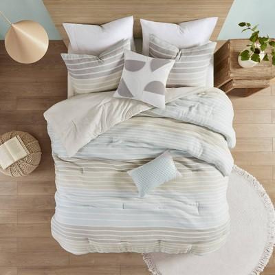 Evan Woven Stripe Cotton Gauze Comforter Set