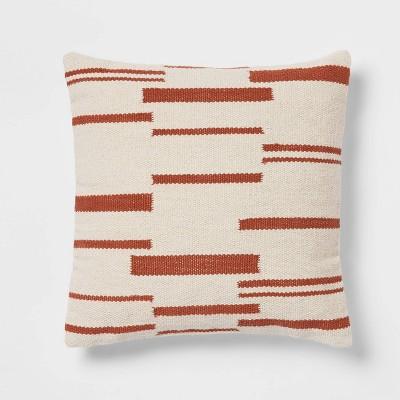 Woven Broken Striped Square Throw Pillow Cream/Copper - Threshold™