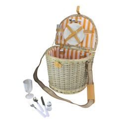 """Northlight 14.25"""" Hand Woven Natural Striped Willow 2-Person Picnic Basket and Accessory Set - Gray"""