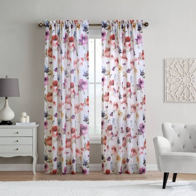 Siri Floral Faux Linen Light Filtering Window Curtain Panel Off White - Habitat