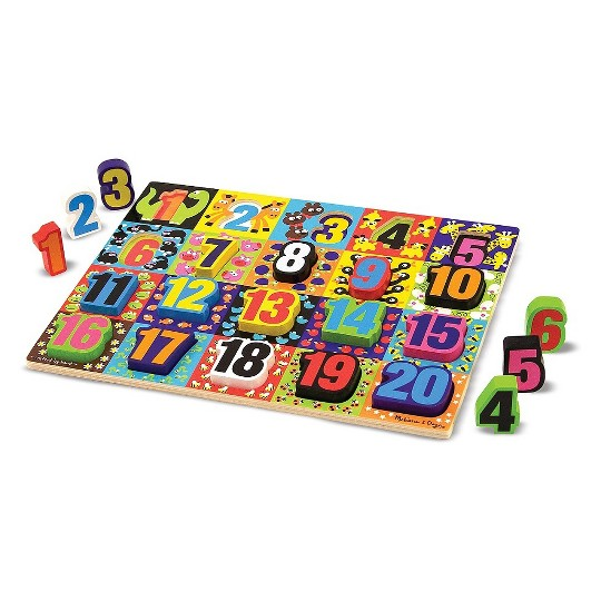 Melissa & Doug Jumbo Numbers Wooden Chunky Puzzle (20pc) image number null