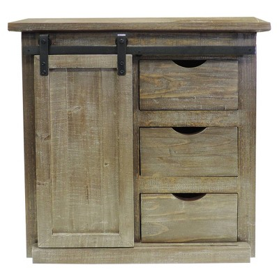 3 Drawer Wooden Accent Chest with Sliding Barn Door Storage Brown - The Urban Port