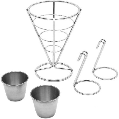 2-Pack Stainless Steel French Fries Stand Cone Basket Holder Rack with 2 Sauce Dip Dishes for Finger Food Appetizers, Silver