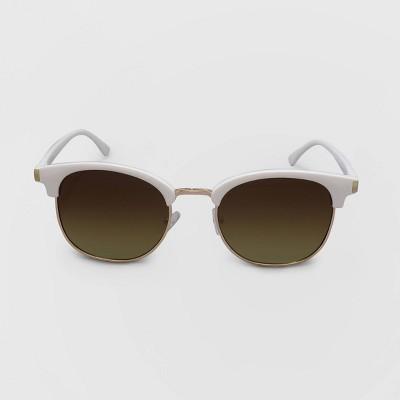 Women's Retro Plastic Metal Combo Silhouette Square Sunglasses - Wild Fable™ White