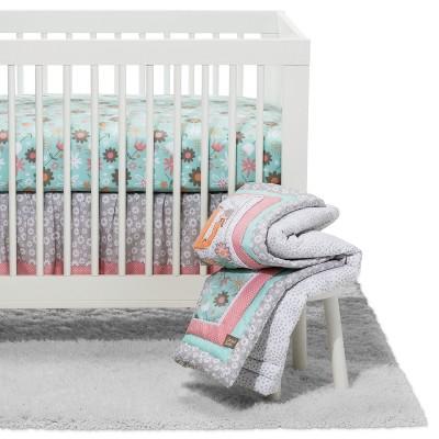 Trend Lab Crib Bedding Set Playful Elephants 3pc - Pink
