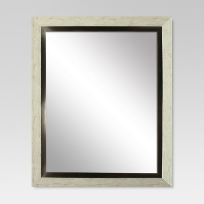 Rectangle Decorative Wall Mirror White Washed Wood with Metal Foil Inner Trim - Threshold™