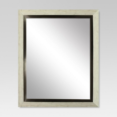 Rectangle Decorative Wall Mirror White Washed Wood with Metal Foil Inner Trim - Threshold™ - image 1 of 1
