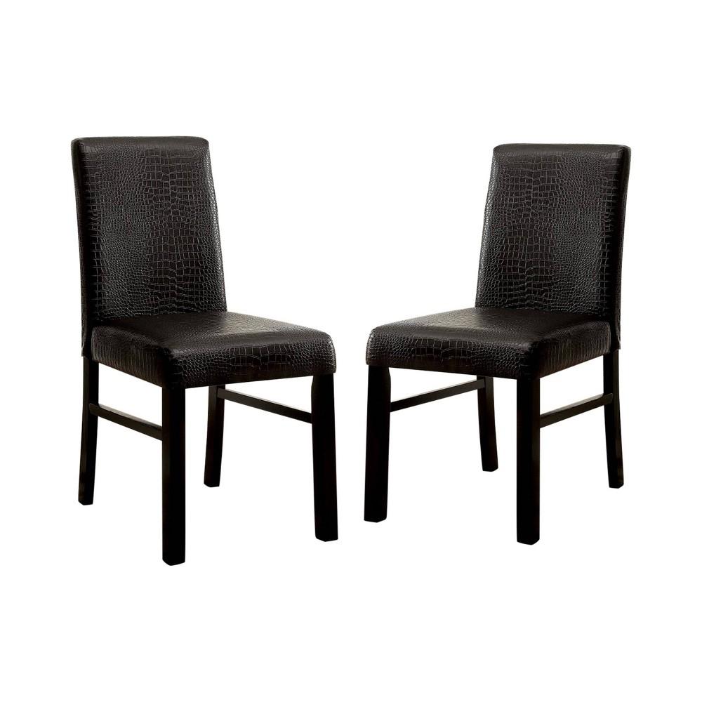 Set of 2 Daniella Brown Crocodile Leatherette Side Chair Black - ioHOMES