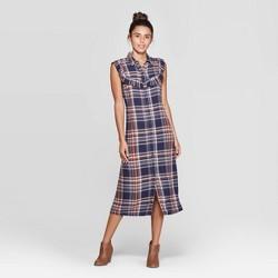 Women's Plaid Sleeveless Ruffle Midi Dress - Universal Thread™ Blue