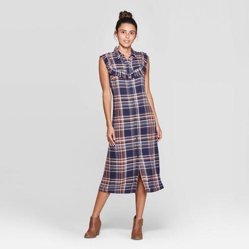Women's Plaid Sleeveless Ruffle Midi Dress - Universal Thread™ Blue - image 1 of 3